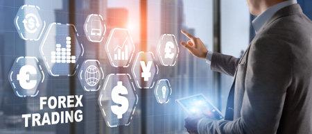 Man in a jacket clicks on a virtual screen inscription Forex Trading 版權商用圖片