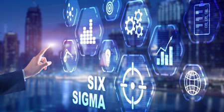 Six Sigma Manufacturing Quality control and industrial process improving concept