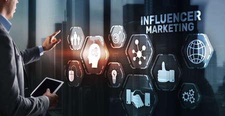 Influencer marketing concept. Business Internet concept 版權商用圖片
