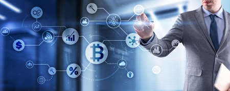 BTC. Digital money and technology worldwide network concept. Virtual bitcoin digital currency coin