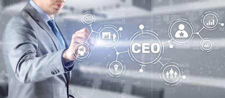 CEO concept. Businessman pressing virtual screen inscription boss