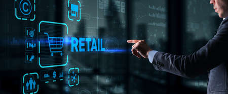 Retail concept marketing channels E-commerce Shopping automation on virtual screen 版權商用圖片