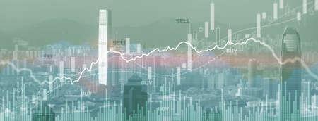 Trading Finance buy and sell concept on futuristic modern city wallpaper 版權商用圖片