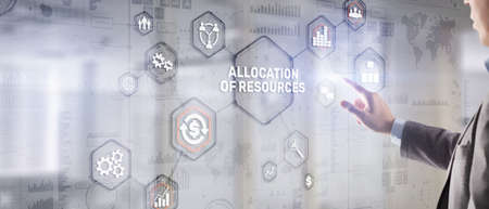 Allocation of resources concept on Virtual 3D Screen. Strategic planning.