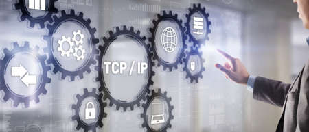 TCP IP. Network data transmission model on abstract background
