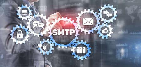 Simple Mail Transfer Protocol. Smtp server mail transfer protocol. TCP IP protocol sending and receiving e-mail 版權商用圖片