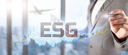 ESG concept as environmental and social governance with business. Website Banner