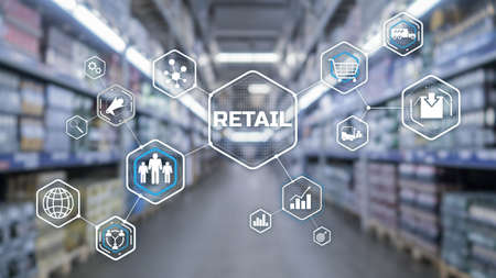 Retail Marketing Channels E-commerce. Shopping automation on blurred supermarket background 2021 版權商用圖片
