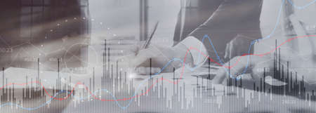 Analytics Banner. Finance Banking Business and Investment concept