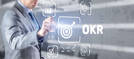 Objectives and Key Results OKR. Methods for project management 版權商用圖片