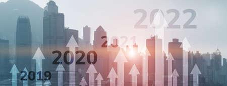 2022 concept. Graph of economics growth. Corpotare concept new year. Mixed Media 版權商用圖片
