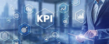 Key Performance Indicator. KPI. Businessman offer KPI success conception