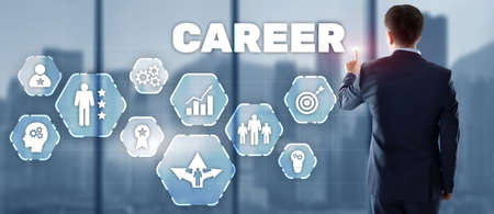 Career with businessman on office background. 2021 Finance concept