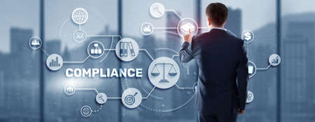 Compliance Regulation Business Technology Concept. Risk control and management system 版權商用圖片