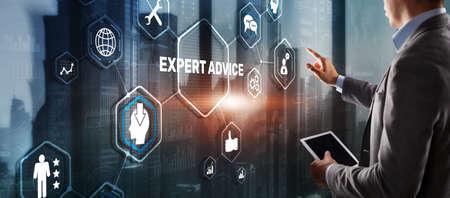 Expert advice. Businessman hand touching inscription on virtual screen 版權商用圖片