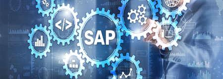 SAP System Software Automation concept on virtual screen 版權商用圖片