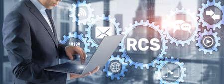 RCS. Rich Communication Services. Communication protocol between mobile telephone 版權商用圖片