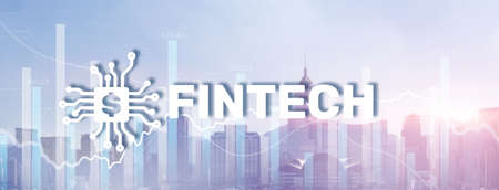 Financial technology concept. Fintech on modern citybackground 版權商用圖片