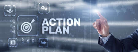 Business Action Plan strategy concept on virtual screen. Time management