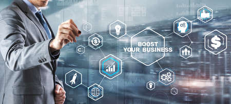 Boost your business on Virtual screen. Business Technology Internet and network concept. 版權商用圖片