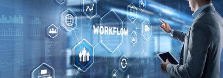 Workflow Repeatability Systematization Buisness Process. Business Technology Internet 版權商用圖片