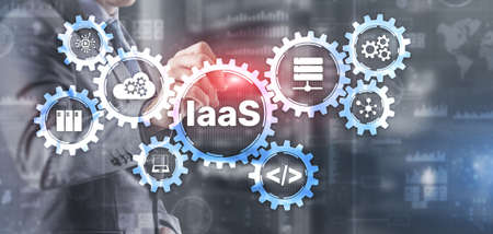 IaaS Infrastructure as a Service. Blue Online Gear Internet and networking concept 版權商用圖片