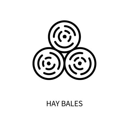 Hay Bale Line Icon Is In A Simple Style. Vector sign in a simple style isolated on a white background. 64x64 pixel.