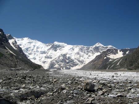 Caucasus. Summer in mountains. Russian Federation. Glacier Bezengi.