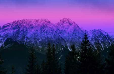 early morning in mountains