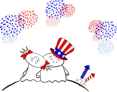 Celebration of Independence Day. 4th of July. Vector Boy and Girl in Love watching Fireworks.
