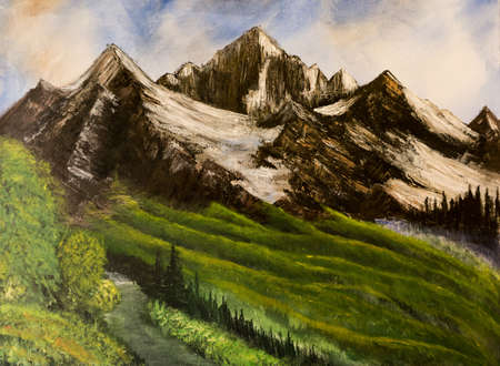 pictorial art: Majestic mountains scenery with snow summits and green fields. Acrylic painting on canvas. Stock Photo