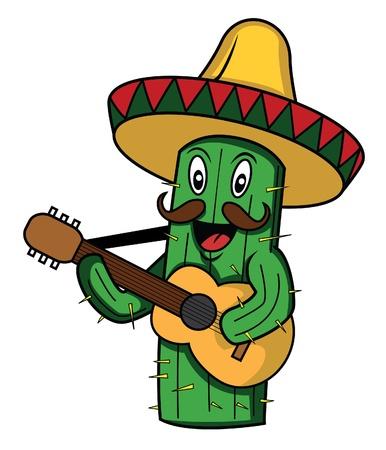 cactus mexico sombero guitar Vector