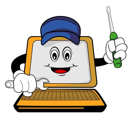 Repaired computer cartoon Vector