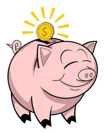 Happy piggy bank Vector