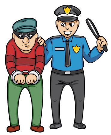 politie en bandiet Stock Illustratie