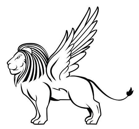 lion with wings: lion wing