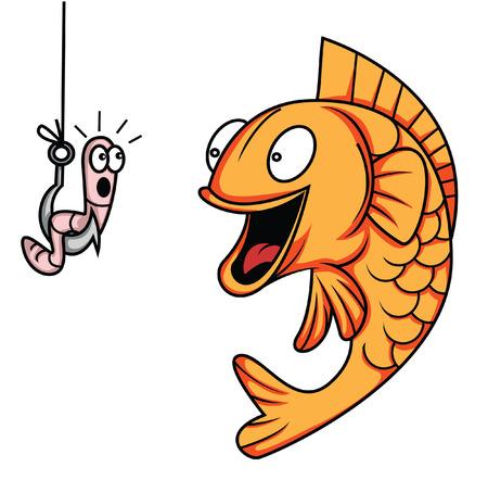 gusano caricatura: gusano de pescado Vectores