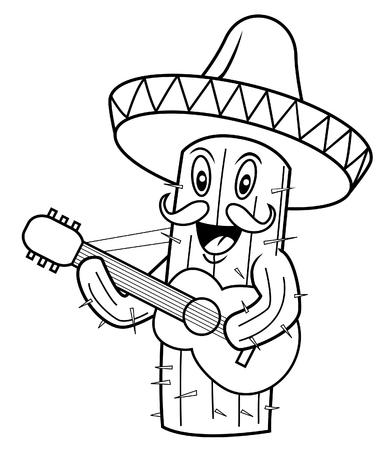 maracas: cactus mexico Illustration