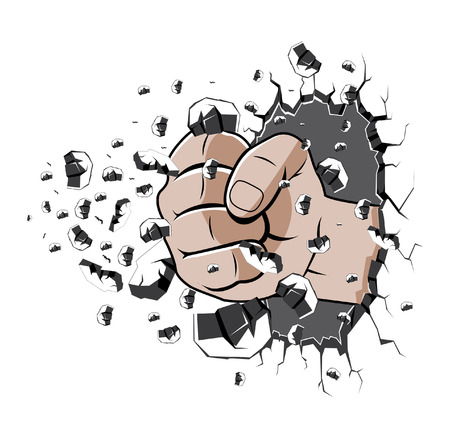hand punch the wall Vector