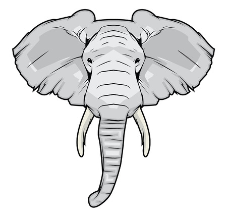 black mammoth: elephant head Illustration