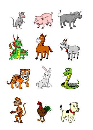 serpiente caricatura: Conjunto zodiaco chino