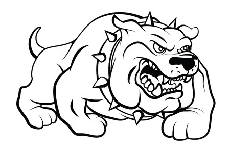 angry dog: Ilustración Bull Dog Vector Vectores