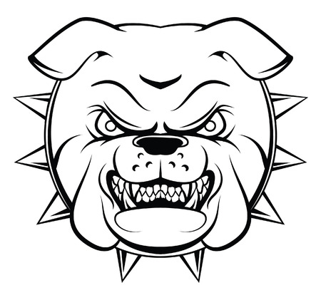 angry dog: Bulldog Head