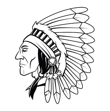 Apache Head Vector Illustration Vettoriali