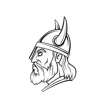 norseman: Viking Head Warrior vector illustration Illustration