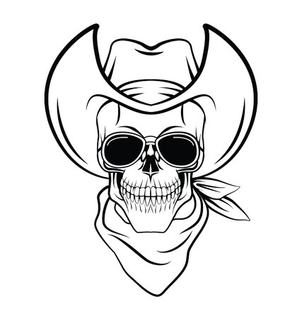 Skull cowboy Warrior vector illustration Vector