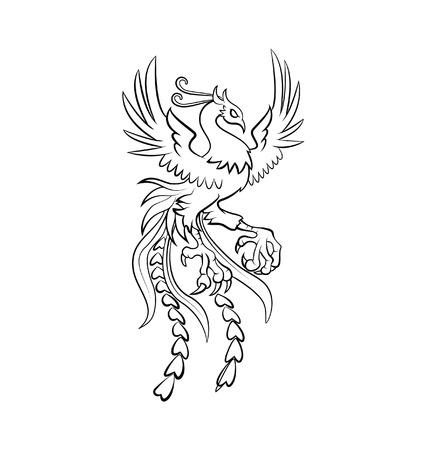 tatouage oiseau: phoenix guerrier illustration vectorielle