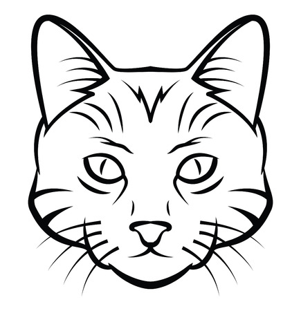 Cat Head Tattoo Vector Illustration Vector
