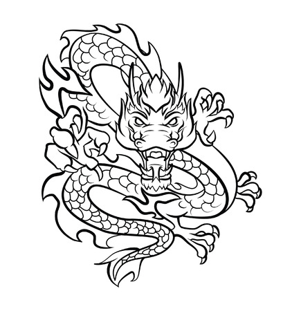 tatuaje dragon: Ilustraci�n del vector del tatuaje del drag�n Vectores