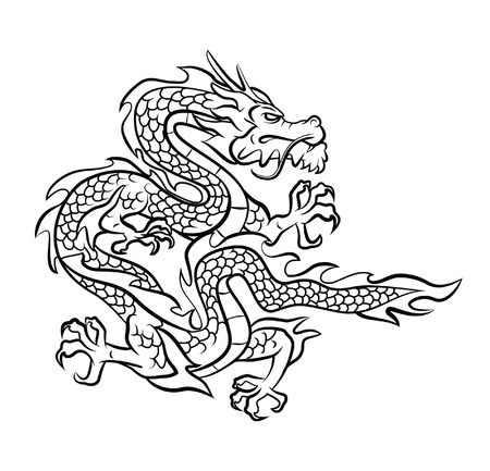 chinese culture: Dragon Tattoo Vector Illustration